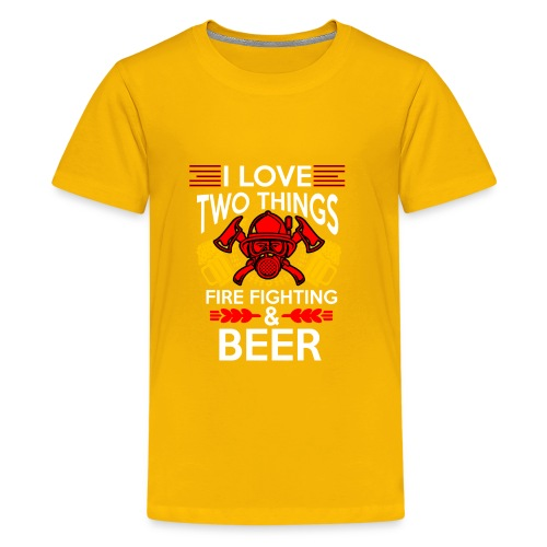 I love Fire Fighter And Beer T-shirt - Kids' Premium T-Shirt