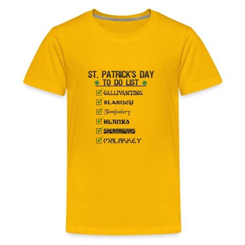 St Patrick's Day To Do List Funny Blarney Malarkey - Kids' Premium T-Shirt
