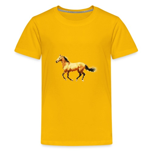 Horse lover art tee brown polygon - Kids' Premium T-Shirt