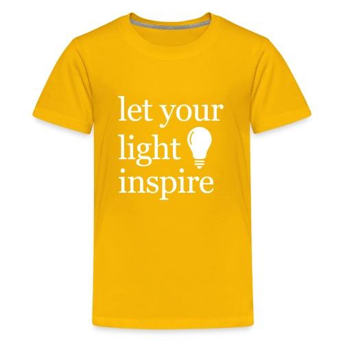 Let Your Light Inspire Hoodie (white font) - Kids' Premium T-Shirt