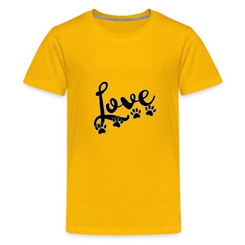love typography with 4 dog paw prints - Kids' Premium T-Shirt