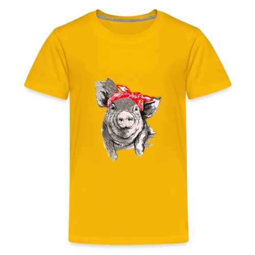 Cute Pig with bandana pink t-shirt for girls,women - Kids' Premium T-Shirt