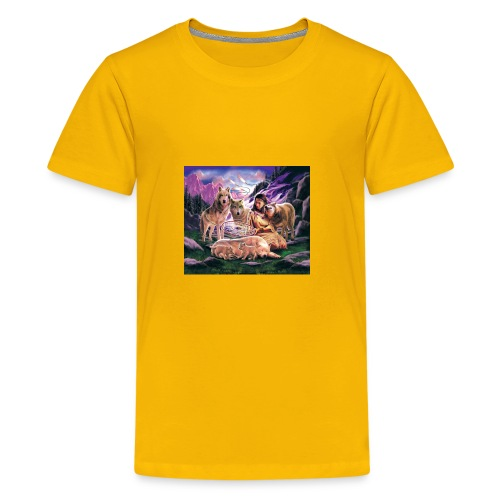 Wolfs with Indian - Kids' Premium T-Shirt
