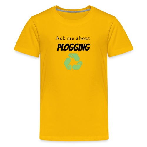 Ask me about Plogging with green recycling Symbol - Kids' Premium T-Shirt