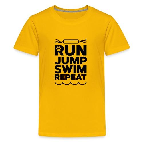 Run Jump Swim Repeat - black imprint - Kids' Premium T-Shirt