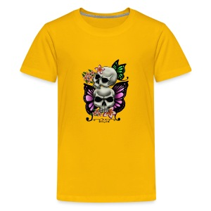 BUTTERFLY SKULLS WITH PLUMERIA - Kids' Premium T-Shirt
