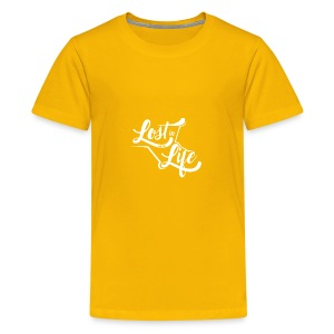 Lost in Life White on Dark logo small - Kids' Premium T-Shirt