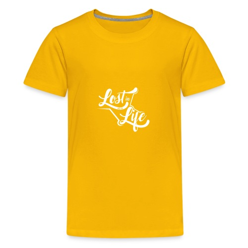 Lost in Life White on Dark logo small - Kids' Premium T-Shirt