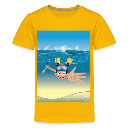 Metal Detecting in Water Ring Flippers NoText - Kids' Premium T-Shirt