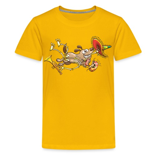 Mischievous Dog Stealing Mexican Skeleton - Kids' Premium T-Shirt