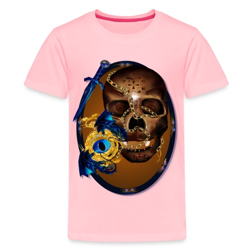 Oval-Dark Skull with Evil - Kids' Premium T-Shirt