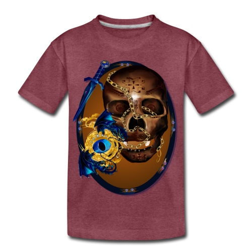 Oval-Dark Skull with Evil - Kids' Premium T-Shirt