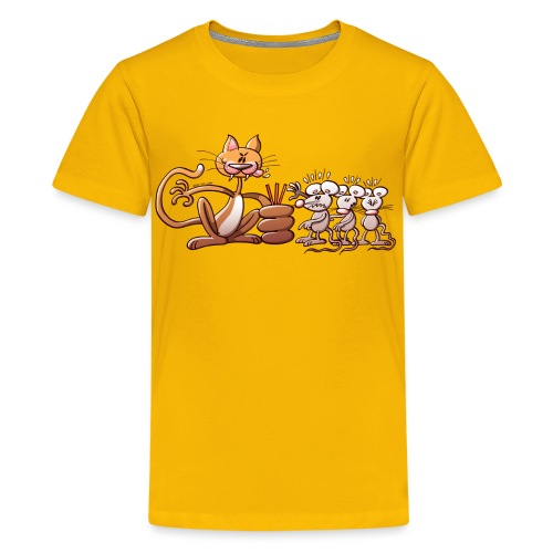Cat Choosing a Mouse by Drawing the Short Straw - Kids' Premium T-Shirt