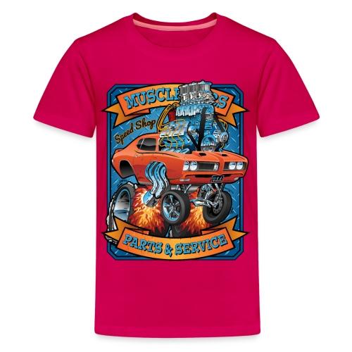 Classic Sixties Muscle Car Parts & Service Cartoon - Kids' Premium T-Shirt