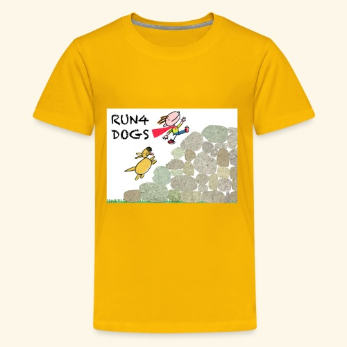 Dog chasing kid - Kids' Premium T-Shirt