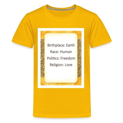 Earth Human Freedom Love - Kids' Premium T-Shirt