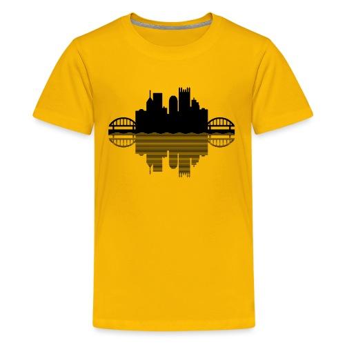 Pittsburgh Skyline Reflection (Black) - Kids' Premium T-Shirt