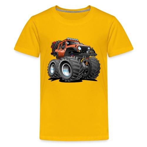 Off road 4x4 orange jeeper cartoon - Kids' Premium T-Shirt