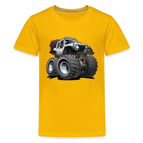 Off road 4x4 white jeeper cartoon - Kids' Premium T-Shirt