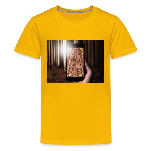 Rail train in forest - Kids' Premium T-Shirt