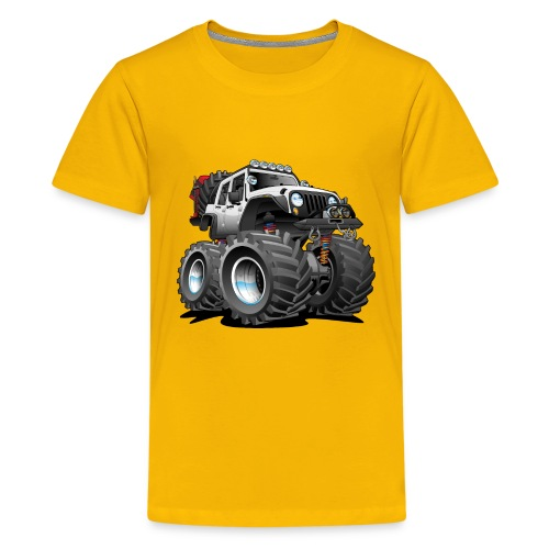 Off road 4x4 white jeeper cartoon - Kids' Premium T-Shirt
