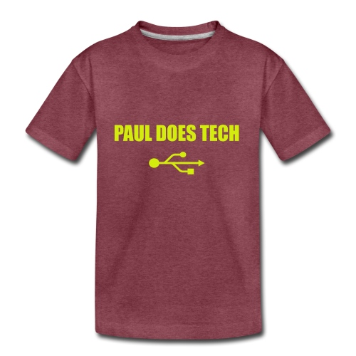 Paul Does Tech Yellow Logo With USB (MERCH) - Kids' Premium T-Shirt