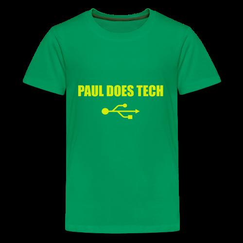 Paul Does Tech Yellow Logo With USB (MERCH) - Kids' Premium T-Shirt