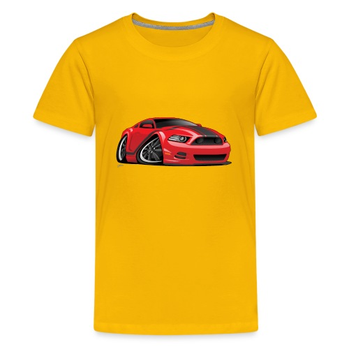 American Muscle Car Cartoon Illustration - Kids' Premium T-Shirt