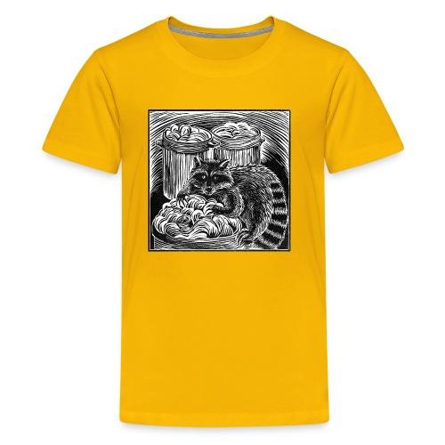 Raccoon Linocut - Kids' Premium T-Shirt