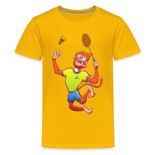 Red Monkey Playing Badminton - Kids' Premium T-Shirt