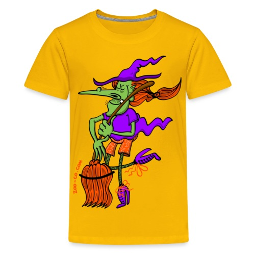Crazy Witch Dancing with her Broomstick - Kids' Premium T-Shirt