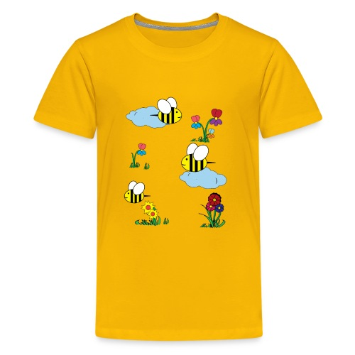 Cute bees and flowers kids, baby colorful design - Kids' Premium T-Shirt