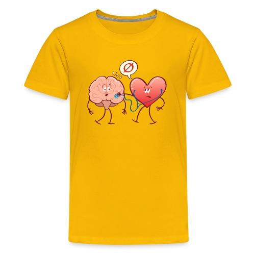 Heart examinating Brain with Stethoscope - Kids' Premium T-Shirt