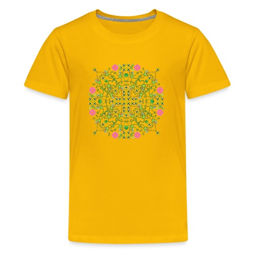 Funny green frogs hunting flies mandala design - Kids' Premium T-Shirt