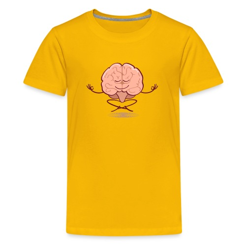 Cartoon brain meditating in lotus pose - Kids' Premium T-Shirt