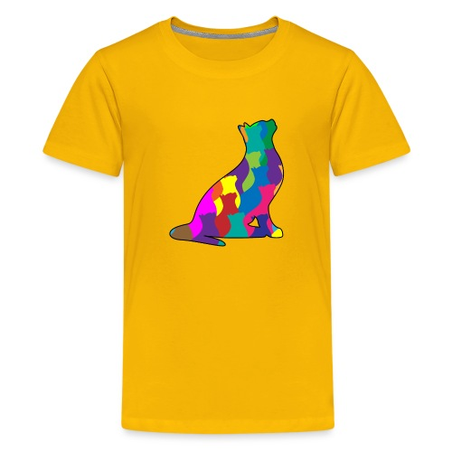 Colorful Cat Collage Silhouette - Kids' Premium T-Shirt
