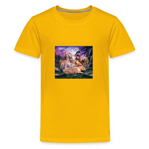Wolfs with Indian - Kids' Premium T-Shirt