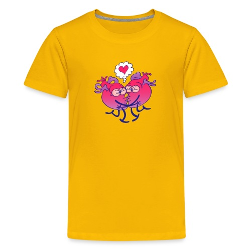 Couple of hearts in love kissing passionately - Kids' Premium T-Shirt