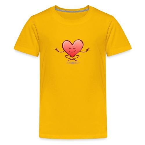 Cartoon heart smiling and meditating in lotus pose - Kids' Premium T-Shirt