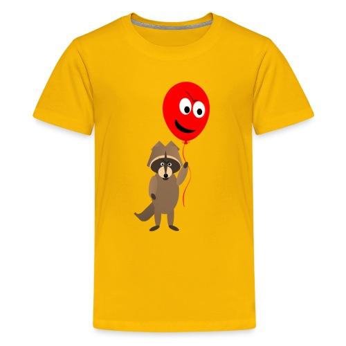 Raccoon and Balloon Cartoon Shirt - Kids' Premium T-Shirt
