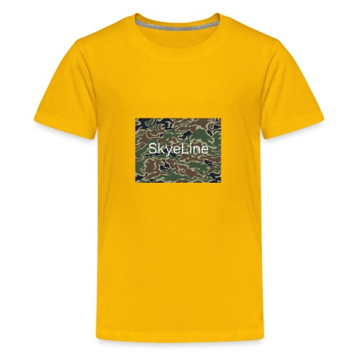 SkyeLine Green Camo and White Box Logo - Kids' Premium T-Shirt