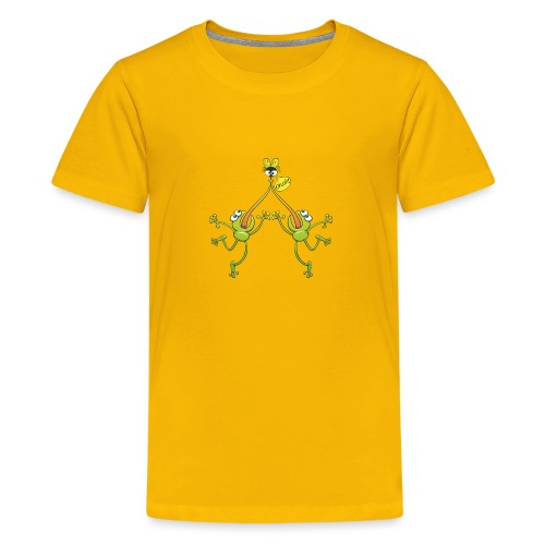 Two green frogs fighting to eat an unlucky fly - Kids' Premium T-Shirt