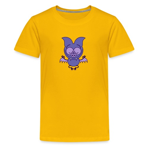 Purple bat meditating in joyful mood - Kids' Premium T-Shirt