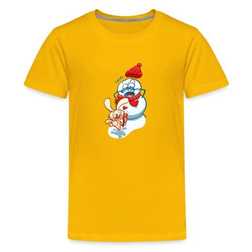 Mischievous bunny stealing the snowman carrot nose - Kids' Premium T-Shirt
