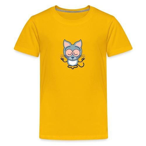 Gray cat meditating in joyful mood - Kids' Premium T-Shirt