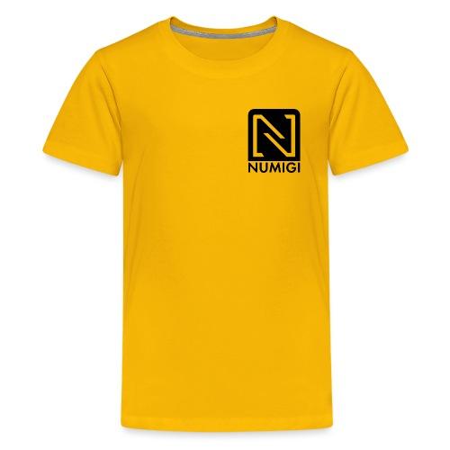 Jaune avec NUMIGI logo BW - Kids' Premium T-Shirt