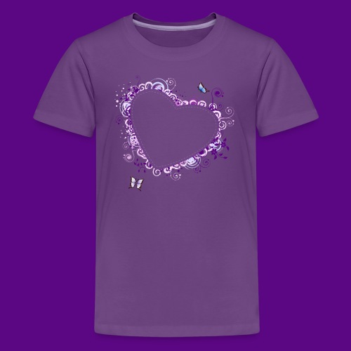PURPLE HEART AND BUTTERFLIES - Kids' Premium T-Shirt