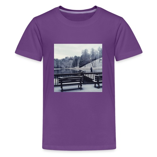Henry Fishing in the Snow - Kids' Premium T-Shirt