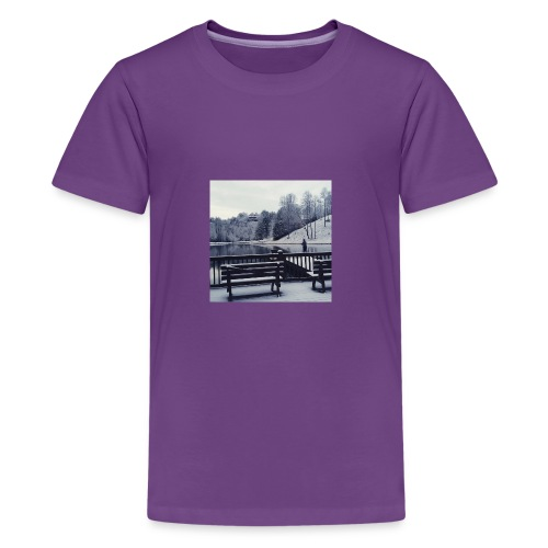 Henry Fishing in the Snow - Kids' Premium T-Shirt