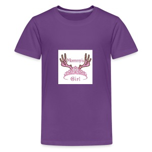Mommys Girl Tiara with Antlers Hunting Applique Ma - Kids' Premium T-Shirt